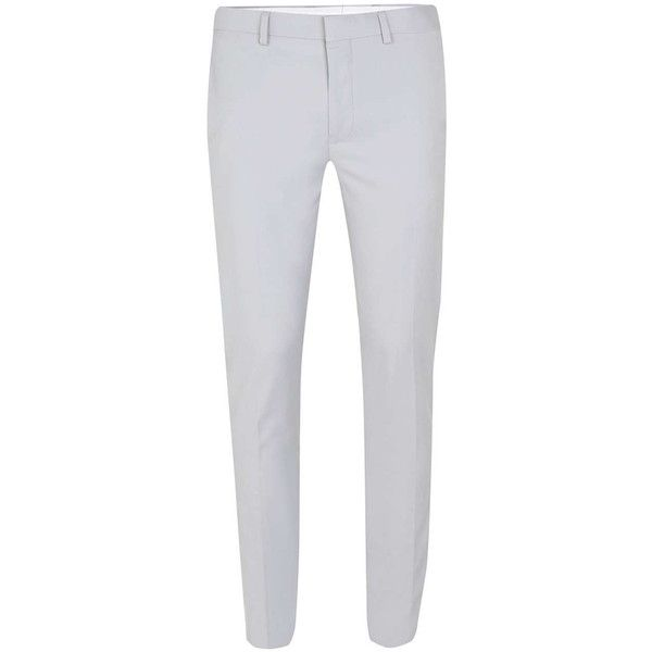 TOPMAN Light Grey Ultra Skinny Fit Suit Trousers (€45) ❤ liked on Polyvore featuring men's fashion, men's clothing, men's pants, men's dress pants, mens skinny pants, mens skinny suit pants, mens skinny dress pants, mens light gray dress pants and mens skinny fit dress pants