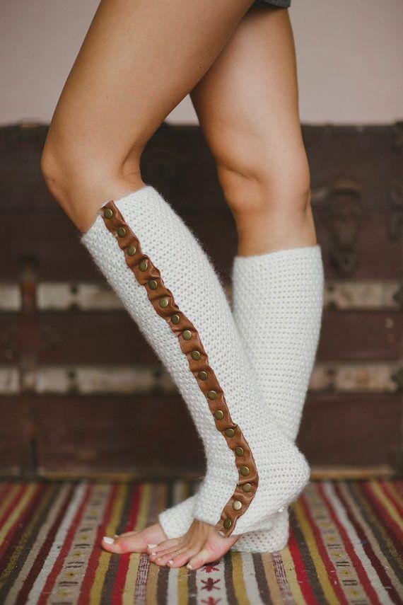 Leg Warmers Leather Trim Stocking Stuffers by ThreeBirdNest, $68.00