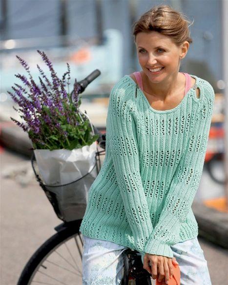 Strik selv: Lysegrøn bluse med hulmønster - Hendes Verden,  free pattern in Danish