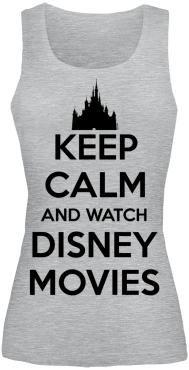 """Girls top """"Keep Calm and Watch Disney Movies"""" van Walt Disney:  - girls top - met print op de voorkant - met normale pasvorm  In plaats van je uit te leven op een bokszak, kun je beter het advies opvolgen van de tekst op de girls top """"Keep Calm and Watch Disney Movies"""" van Walt Disney! Ontspannen op de bank hangen en films kijken, er bestaat niets beters!"""