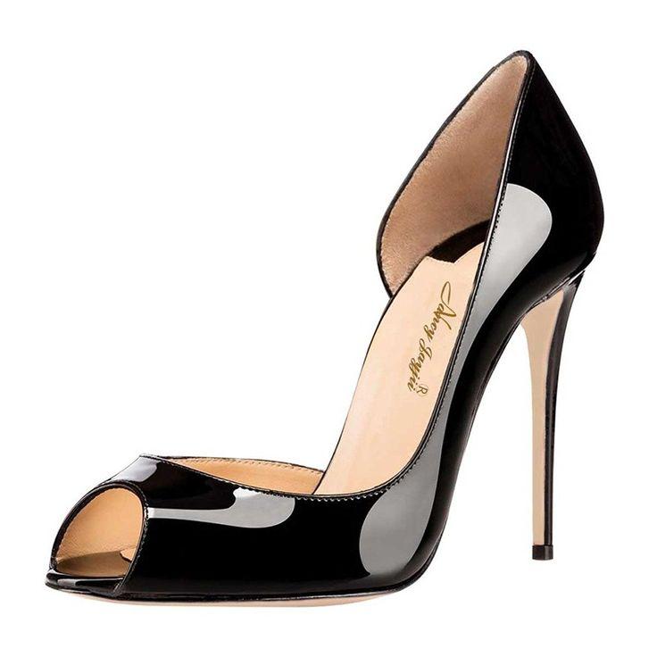 Black High Heel Pump Chic D'orsay Heels Pumps for Women Peep Toe Stilettos  Genuine