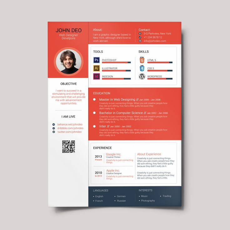 8 best CV Portfolio Design images on Pinterest Branding design - contemporary resume template free