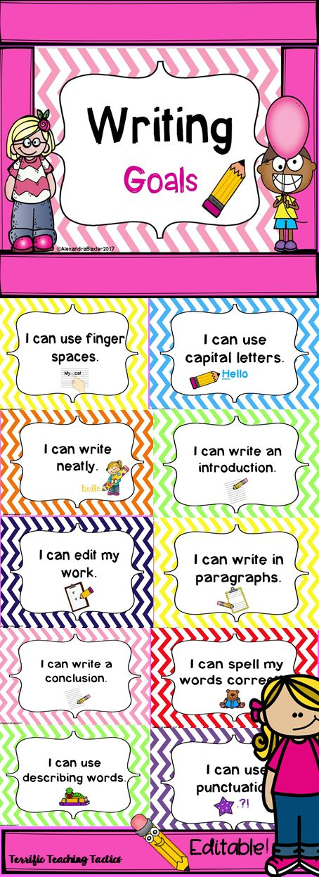 Check out these writing goals that are great posters/visual clip chart for tracking progress in literacy!