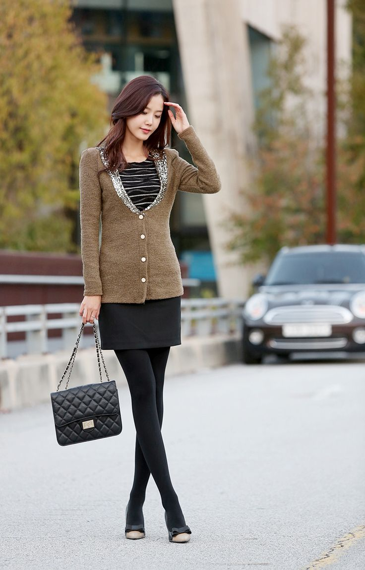 Really LOVE this outfit! The cardigan with the sequin collar is fab and I love it with the striped top and black skirt!