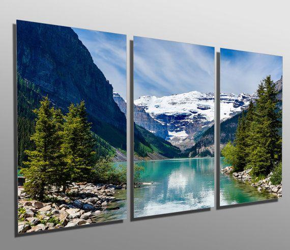 Metal Prints Lake Louise Rocky Mountain 3 Panel Split Etsy Scenic Landscape Modern Metal Wall Art Lake Louise