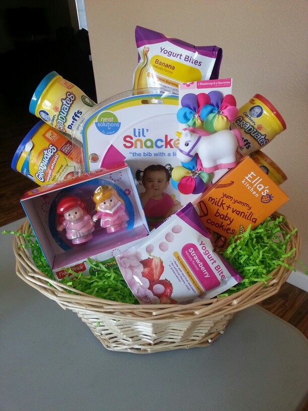 4970 best easter ideas for easter baskets images on pinterest baby girls first easter basket full of yummy goodies bib with lid flower negle