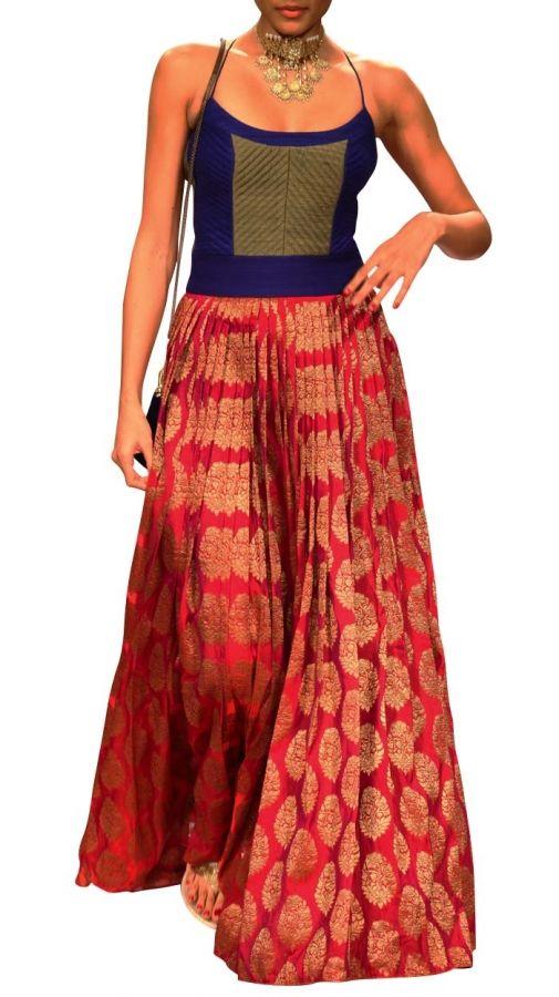 Anita Dongre Red Brocade Dress | Indian Fashion Designer