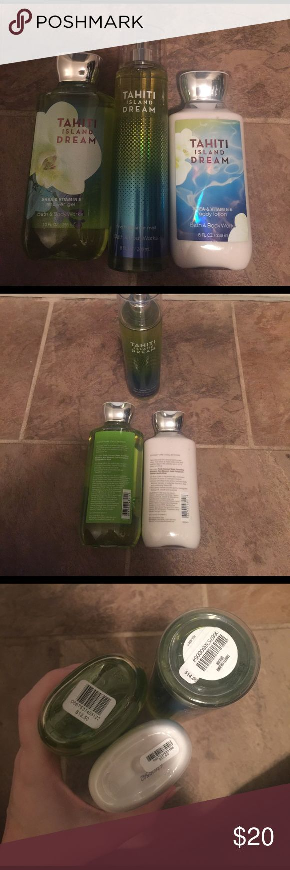 Bath & Body works Tahiti Island Dream set Includes full size, shower gel, lotion and body spray! All brand new never used. Tahiti Island Dream bath and body works  Accessories