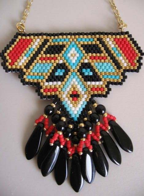 Native American Inspired Beadwoven Pendant Copyright by pattimacs