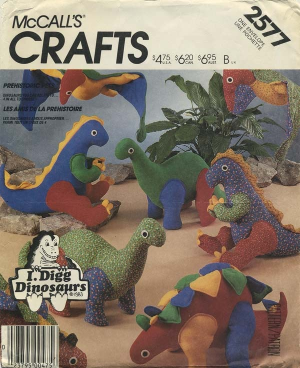 Vintage Sewing Pattern for Stuffed Dinosaurs McCall's