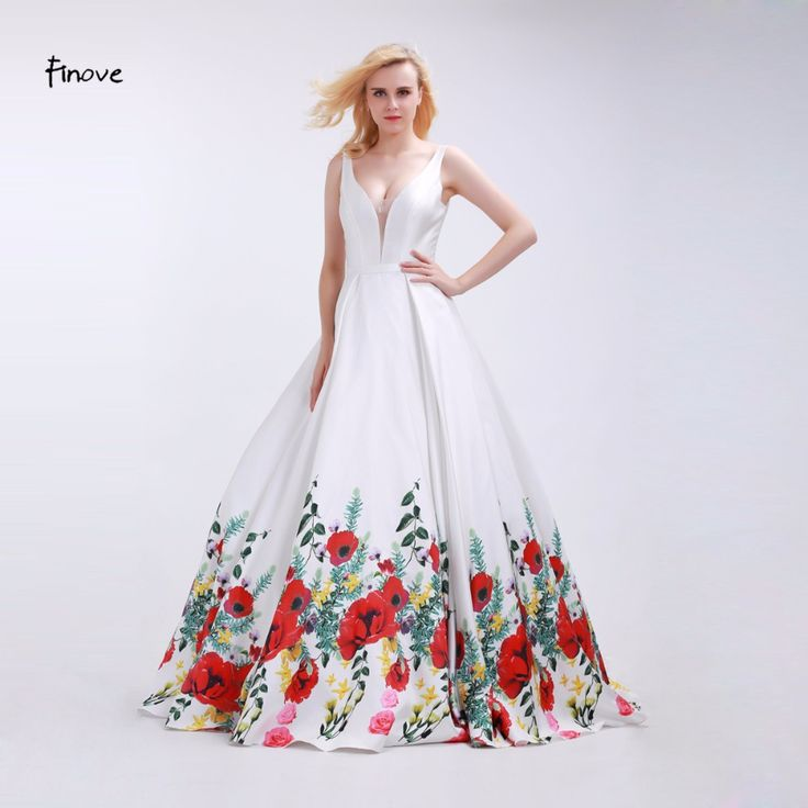 >> Click to Buy << Finove White Prom Dresses Sexy Big V-Neck 2017 Fashionable Red Flowers Pattern Sleeveless and Backless Party Gowns for Girls #Affiliate