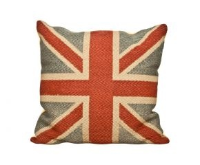 Cuscino in juta blu UNION JACK - 74x74x8 cm