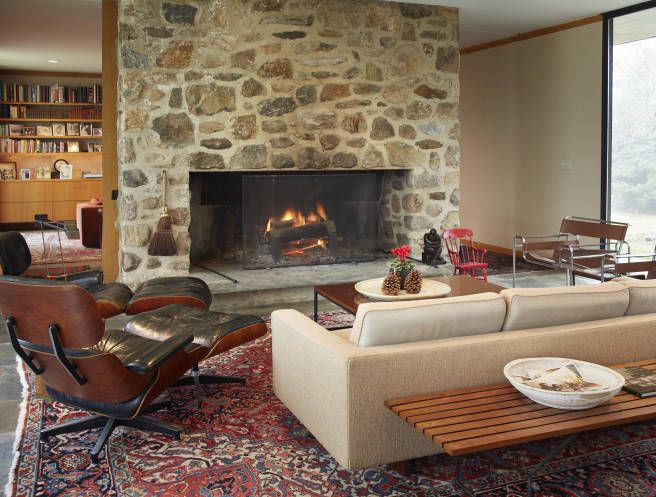 Mid Century Modern Living Room With Fireplace 129 best stone fireplaces images on pinterest | stone fireplaces