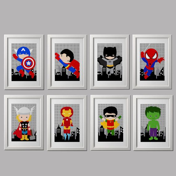 Probably one of the cutest things I've seen in a while! Super hero wall art PRINTS 8 8x10 inch PRINTS by AmysSimpleDesigns, $40.00