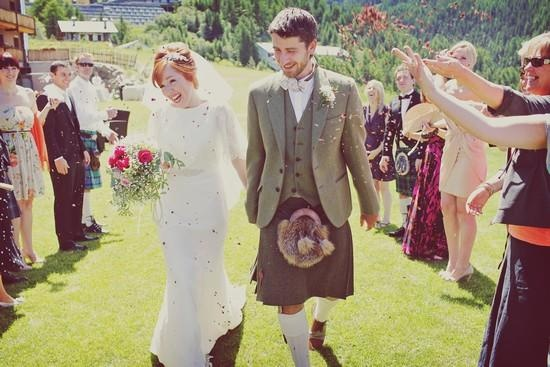 Italy wedding - mountains - August - Scottish - hearts - love - shabby chic - vintage - lace - redhead - friends - confetti - kilt