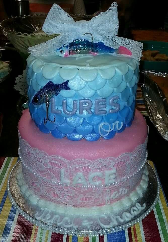 92 best images about lures and lace gender reveal on for Fishing gender reveal ideas