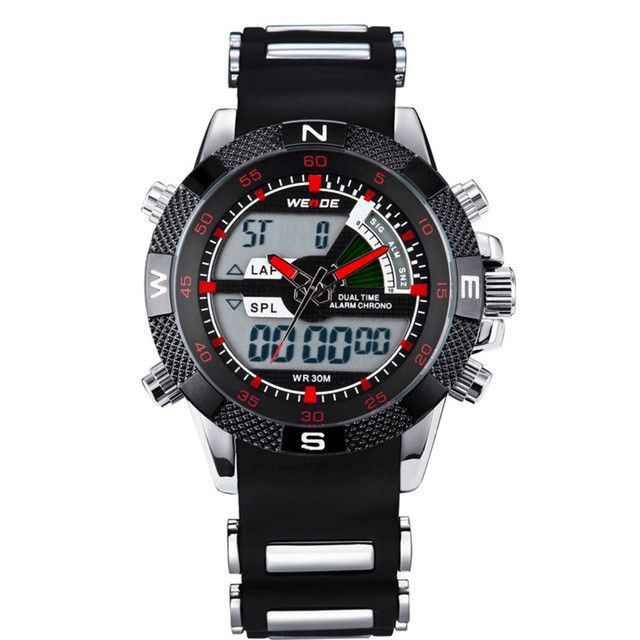 WEIDE Watches Men's Casual Watch Multifunction LED Watches Dual Time Zone With Alarm Sports Waterproof Quartz Wristwatches