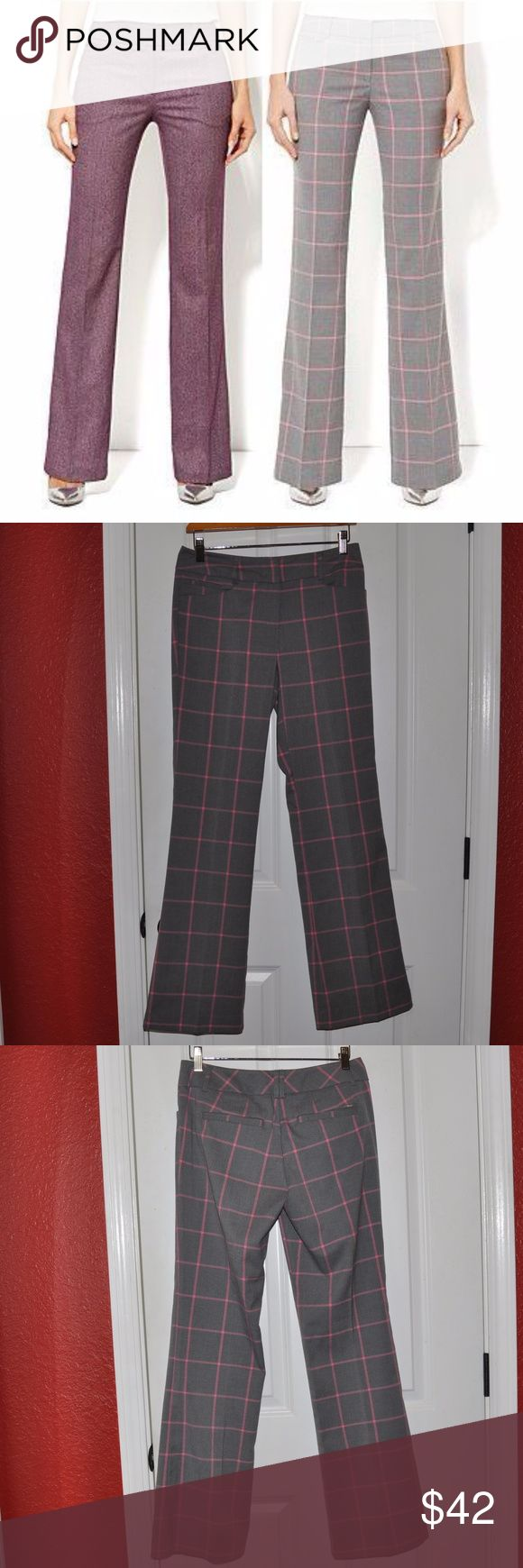 BUNDLE of 2 New York & Company 7th Avenue Pants A1 New York & Company 7th Avenue Pants Bundle  size 2 waist 29 hips 36 rise 8 1/2 inseam 31 1/2  windowpane plaid (gray/pink) herringbone (purple)  modern fit boot cut Sits just below waist. Slimming through hip and thigh Zip front with hook-and-bar closure Belt loops Front pockets Back welt pockets  condition: excellent @cjrose25  Trouser Dress Pants Slacks Career Suit Separate New York & Company Pants Boot Cut & Flare