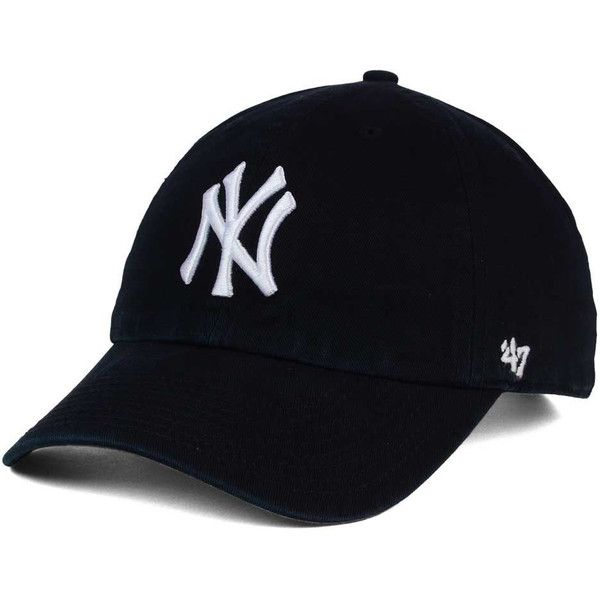 New York Yankees '47 MLB Black White '47 CLEAN UP Cap (235 NOK) ❤ liked on Polyvore featuring accessories, hats, low crown hats, mlb baseball hats, adjustable baseball hats, mlb baseball caps and american baseball caps
