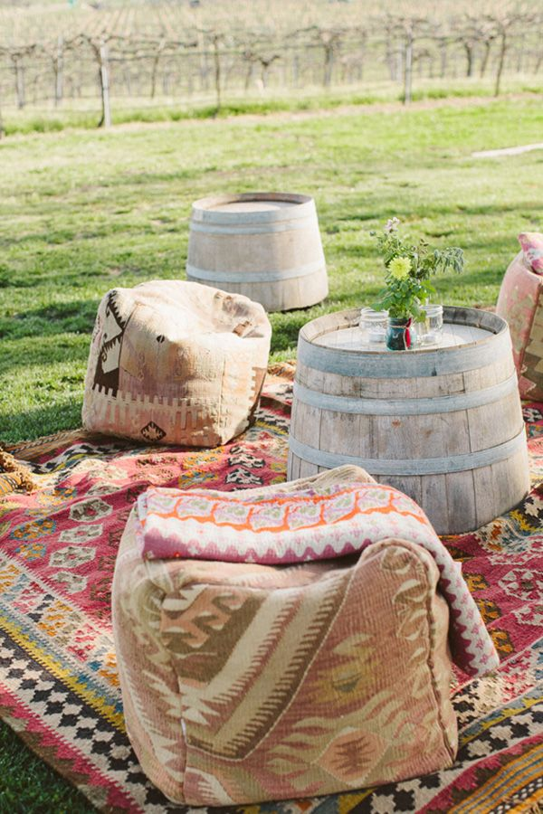 Colorful Carpets for Bohemian Wedding Seating | The Why We Love Photography | Brighton Cayenne Inspiration from Napa Valley Linens