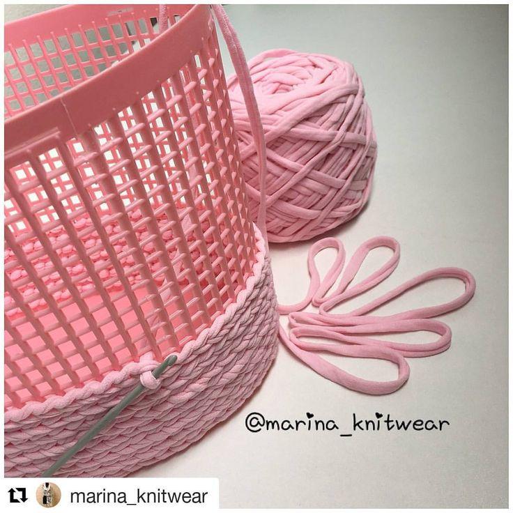 Süper fikir 👌👌#Repost @marina_knitwear (@get_repost) ・・・ Нежного розового цвета корзинка получается крепкая и устойчивая благодаря каркасу.…