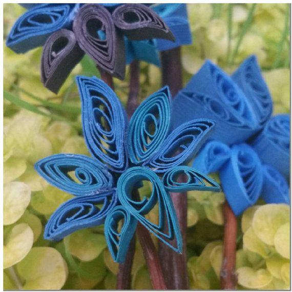 Centro orquídea azul exótico Quilled papel por PaperOrchidBoutique