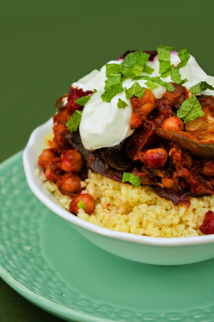 Vegan Roasted Vegetable and Chickpea Tagine with Bulgur Wheat a great Autumnal veggie dish to bring in fall and the cooler days.
