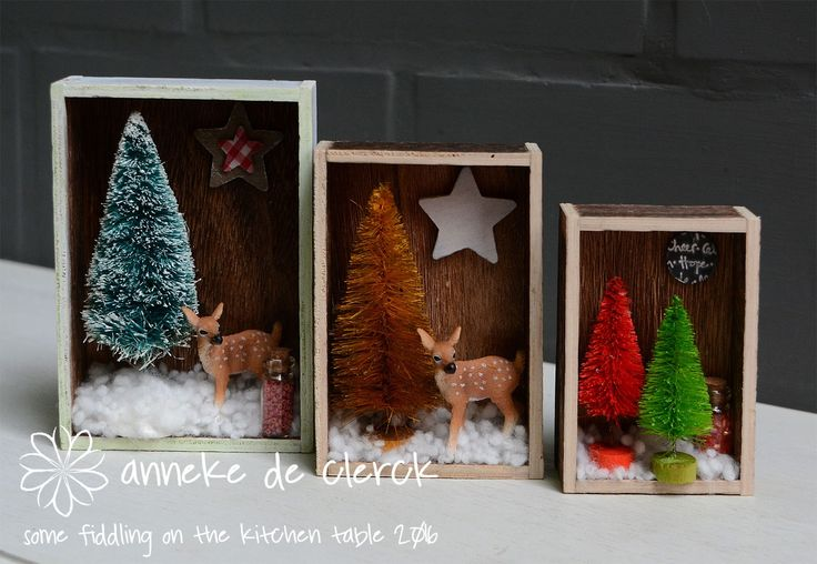 Christmas Diorama's made from Tim Holtz Vignette Boxes
