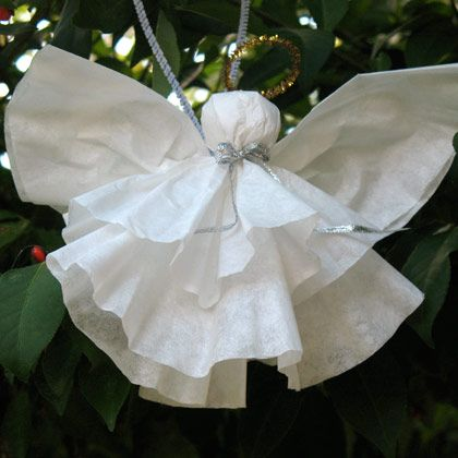 * Easy Coffee Filter Angel:  coffee filter, cotton ball, ribbon, pipe cleaner, scissors, and a hot glue gun [or  use an old fashioned clothes pin for the body then just attach together with a bit of pipe cleaner that will also be the arms]