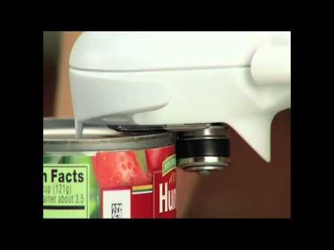 Pampered Chef Can Opener - The Smoother Way to Open Cans - YouTube  No sharp edges ...safe for kids to use too