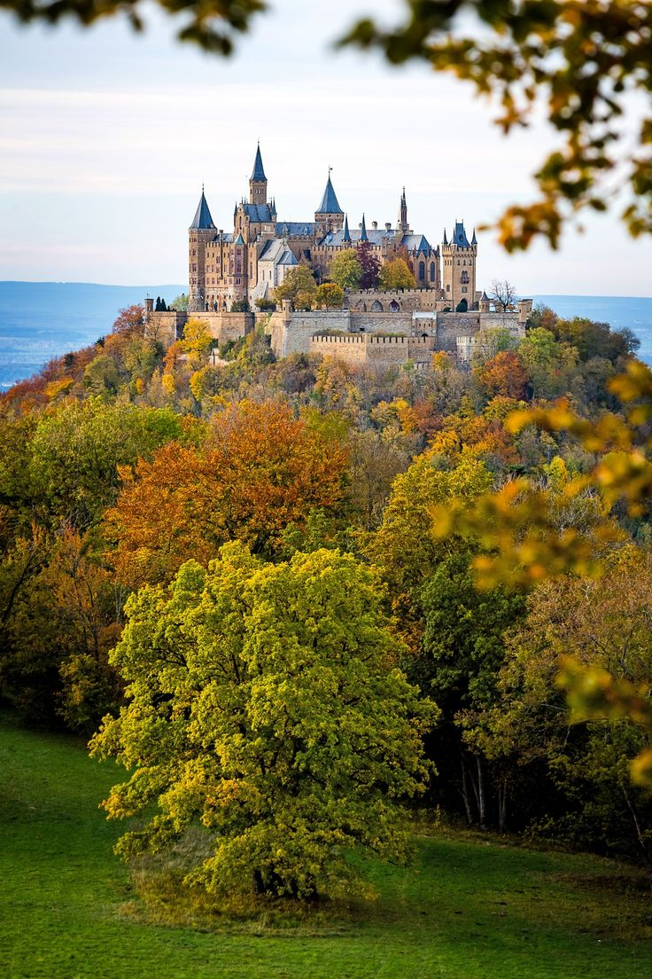 Burg Hohenzollern-Hohenzollern Castle is a castle approximately 31 mi south of Stuttgart, Germany. It is considered the ancestral seat of the Hohenzollern family, which emerged in the Middle Ages and eventually became German Emperors.