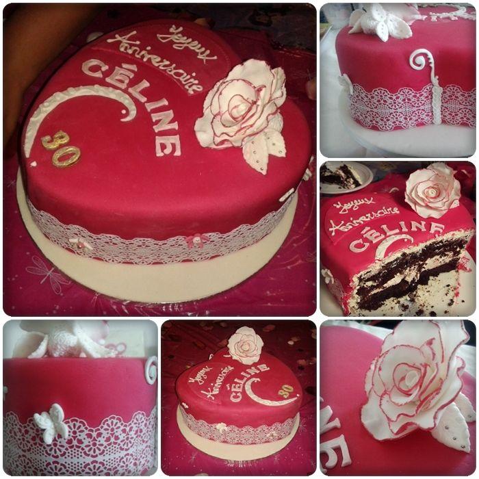 Heart cake Saveurs chocolat - framboise 1er gâteau en forme de cœur- la confection de roses progresse - folie des grandeurs avec ce gâteau haut de 10 cm