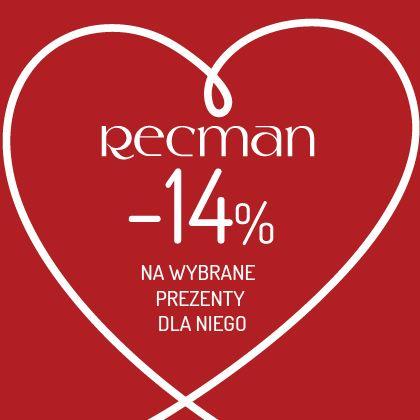Walentynki już niedługo, a w salonach Recman już od dzisiaj na wybrane produkty prezentowe dostaniesz 14% walentynkowego rabatu!  Szczegóły promocji w salonach Recman. Zapraszamy!