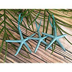 Blue Finger Starfish Christmas Ornaments, Set of 3
