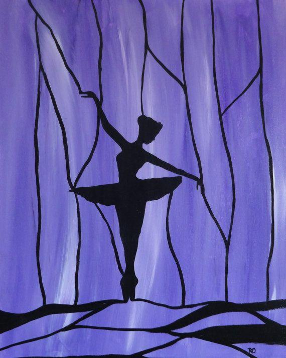 Original ballerina Acrylic Painting, Abstract Painting,  silhouette ballet dancer,wall decor,  girl room decor, for your little ballerina