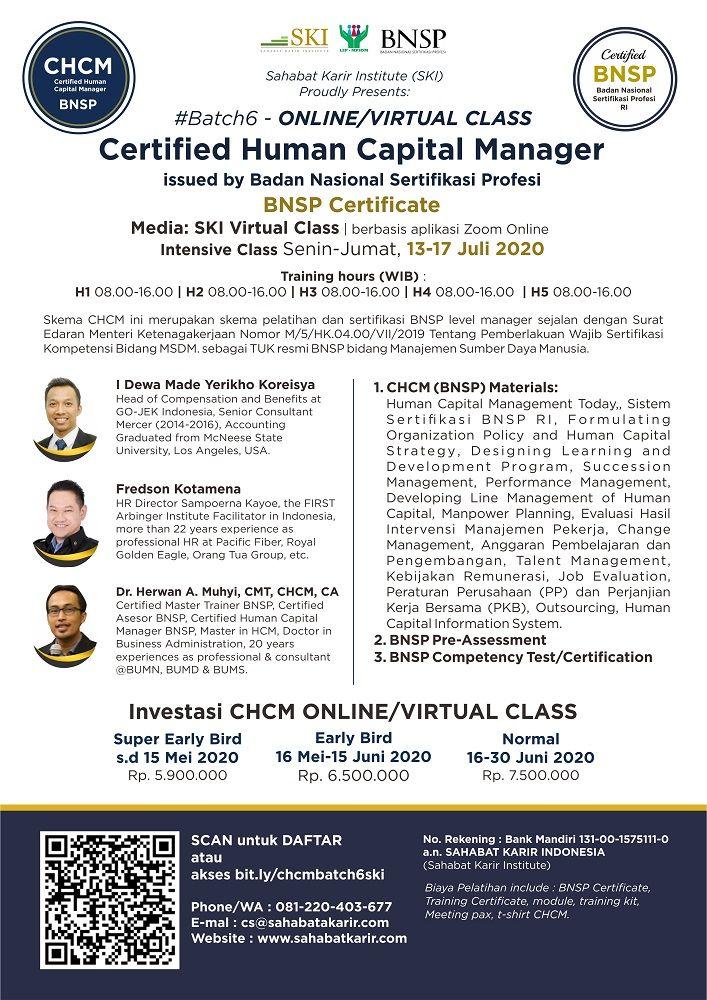 Certified Human Capital Manager Chcm Batch 6 Bnsp Ski Profesi Aplikasi