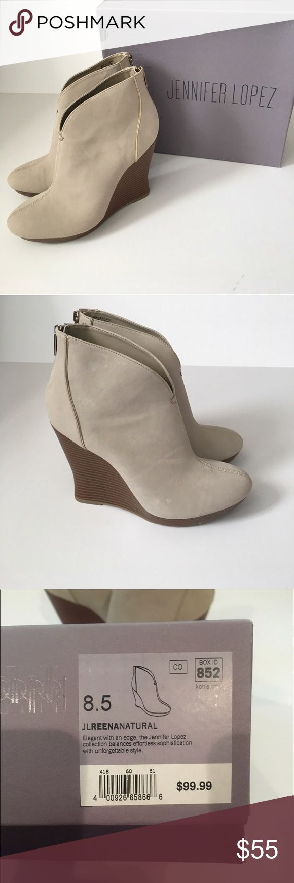JLo ankle boots BRAND NEW Brand new neutral ankle boots with back zipper closure. Heel stands at about 5 inches tall. Super comfy! Jennifer Lopez Shoes Ankle Boots & Booties