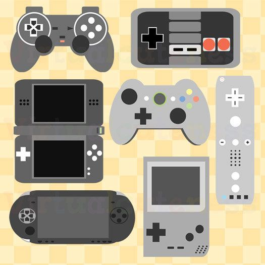 Includes 7 high quality JPEG files at 300 DPI. As pictured the images are illustrations of game controllers. ( If you would prefer PNG please