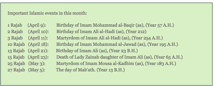Important Islamic events in the month of Rajab