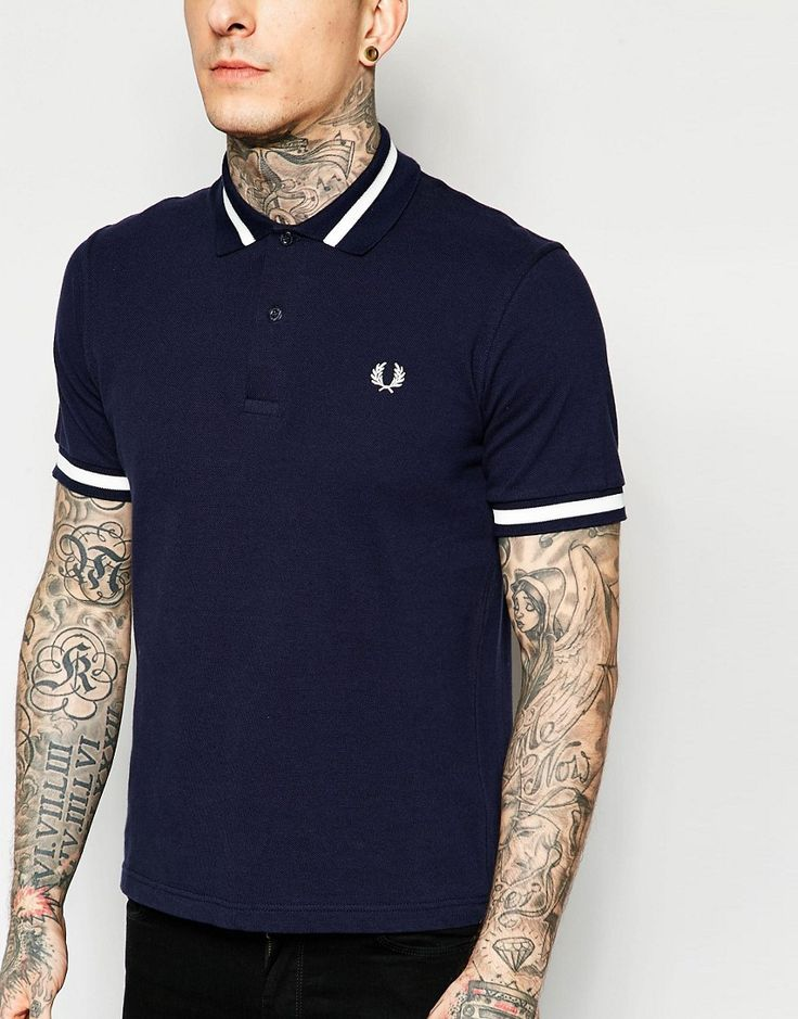 Image 3 ofFred Perry Laurel Wreath Polo Shirt with Single Tip in Navy