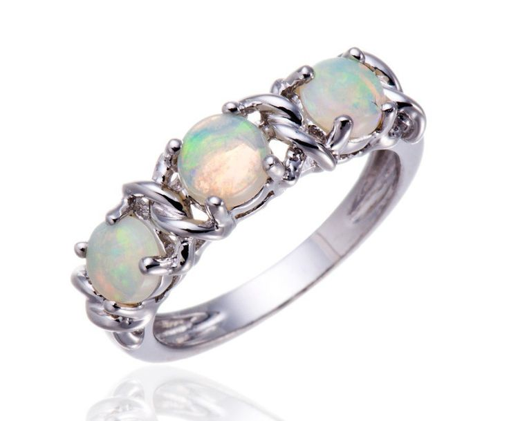 White Opal Stone  Solid 925 Sterling Silver  Ring