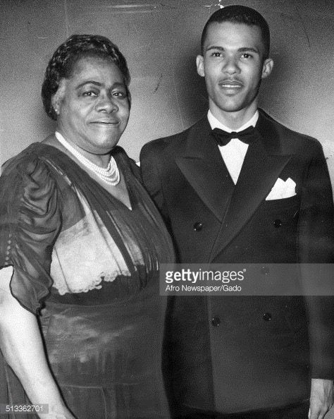Dr. Mary McLeod Bethune and Albert McLeod Bethune, Jr. pose at Metropolitan AME Church, February 12, 1940 Photo credit: Getty Images/Afro Newspaper/Gado  Albert McLeod Bethune, Jr. and Mary McLeod Bethune reenactor Photo credit: Mary McLeod Bethune Foundation National Historic Landmark