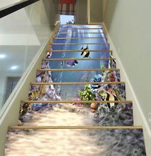 3D Sea, fish 676 Stair Risers Decoration Photo Mural Vinyl Decal Wallpaper US