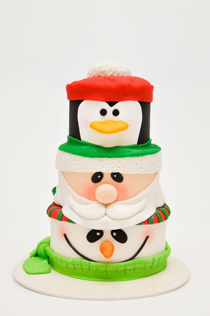 Snowman Santa Penguin Cake