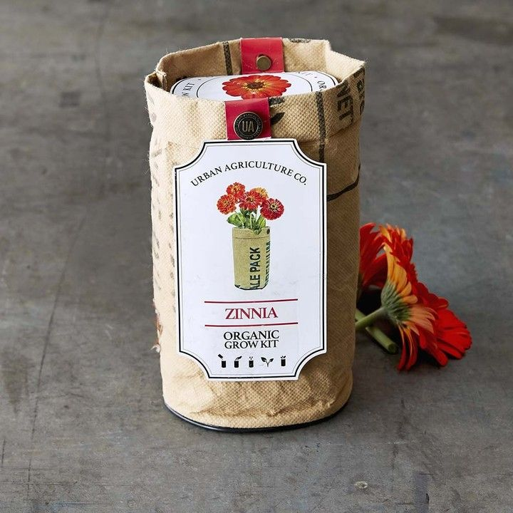 $16.95 Williams Sonoma Flower Grow Kit | Includes one packet of organic seeds, one bag of organic soil and one container. Recycled tea bag container provides optimum drainage and soil aeration. Packet contains enough seeds for 3–;5 sowings.Choice of gardenia, marigold, sweet pea or zinnia.