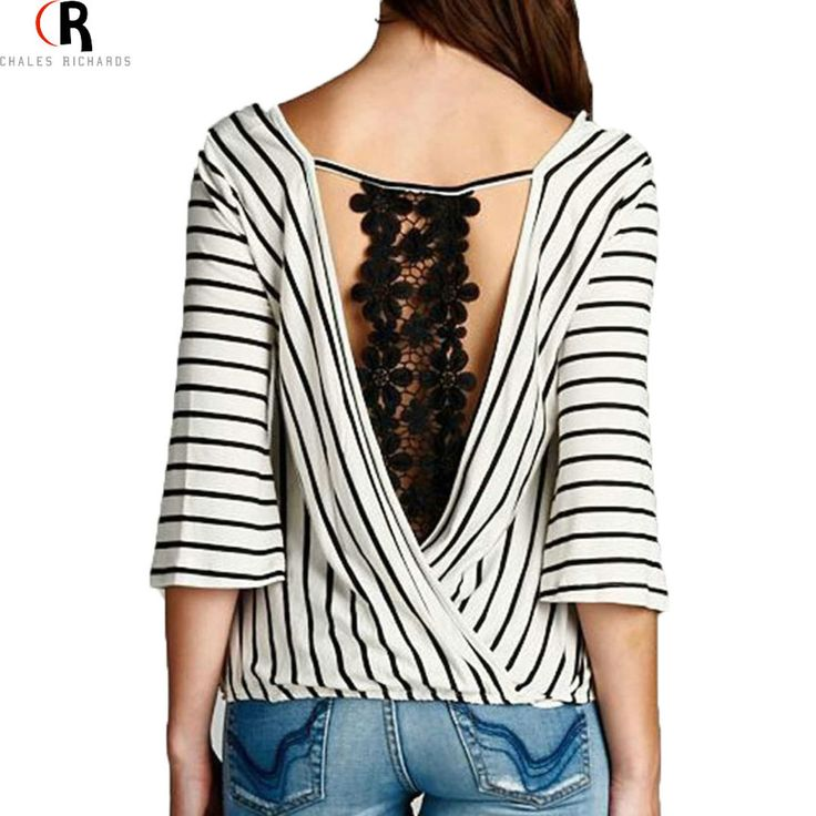 2 Colors Striped Crochet Lace Backless Three Quarter Sleeve Blouse Deep V Neck Loose Casual 2016 Spring Autumn Women Top-in Blouses & Shirts from Women's Clothing & Accessories on Aliexpress.com | Alibaba Group