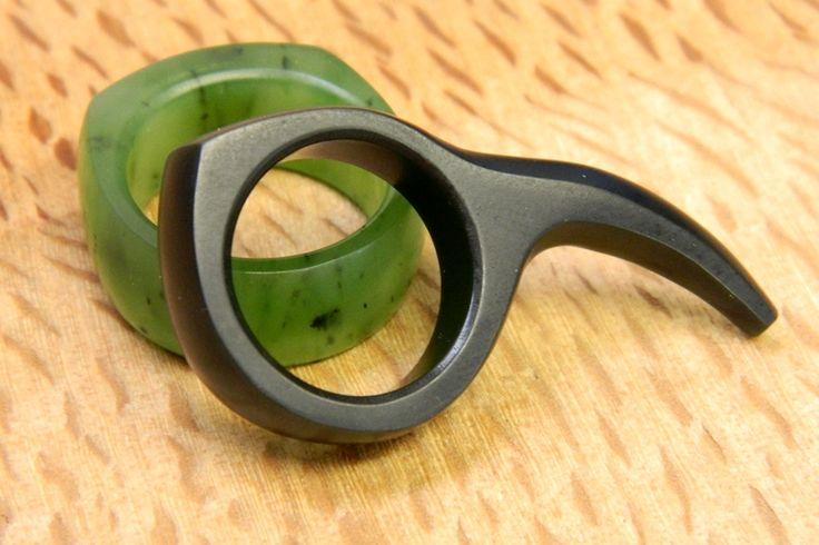 Jade Rings  Black Huia Jade Ring (Australian Jade) Apple green Pounamu Ring  Carved by Aaron Brown