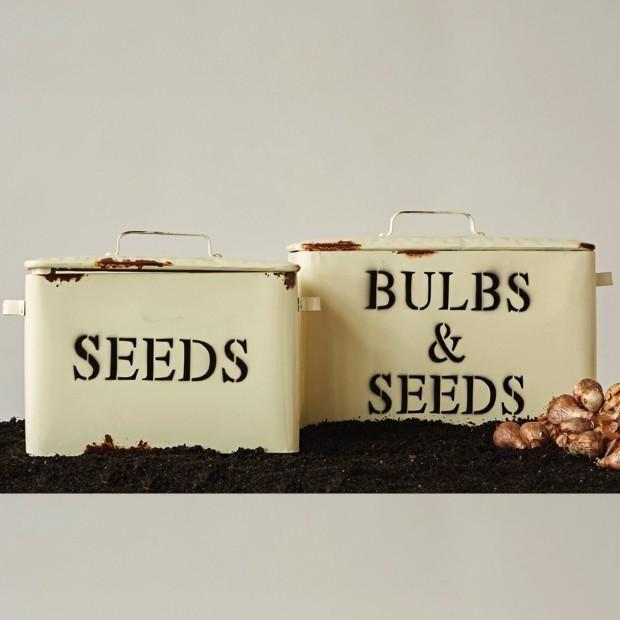 Vintage French Soul ~  Vintage Enamel Bulbs & Seeds Bins with Handles, Set of 2
