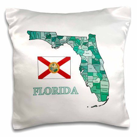 3dRose Colorful map and flag of Florida with all counties identified , Pillow Case, 16 by 16-inch