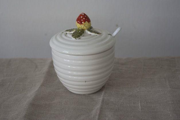 Marmelade Topf Schale Erdbeere 70er Handgemacht